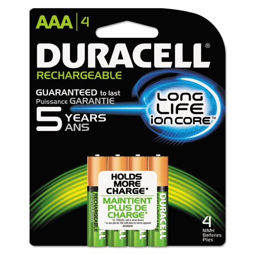 Duracell - Rechargeable NiMH Batteries with Duralock Power Preserve Technology, AAA, 4/Pack NLAAA4BCD (DMi PK