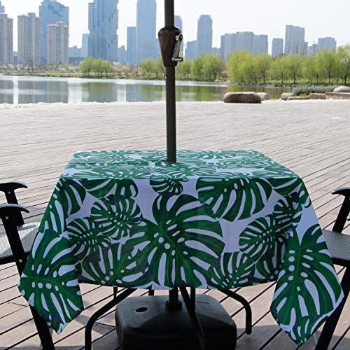 Lamberia Outdoor Tablecloth with Umbrella Hole, Water and Stain Resistant, Umbrella Tablecloth for Square Tables Seats 4 (Bamboo, 60