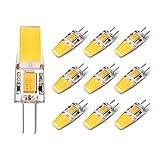 Yuiip 10 Pack LED G4 Light Bulb 2700K Warm White AC/DC 12 Volt 2.5 Watt 2700K 280LM Equivalent 28 Watt G4 Halogen lamp Bi-pin COB Non Dimmable