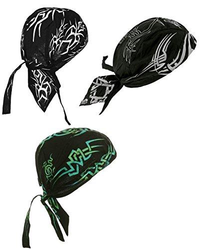 Doo-Rag-Pack-of-Motorcycle-Biker-Caps-3-Set-Cotton-Durags-Bandana-Head-Wraps-Skull-Caps