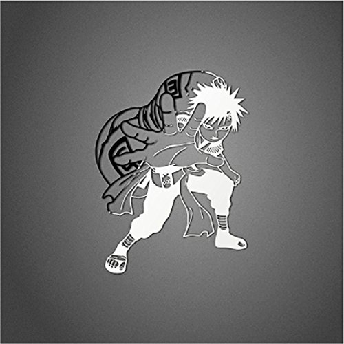 Wallner 2pcs Anime Naruto Uzumaki metal Decal Sticker for cellphone and laptop (Silver) (Gaara)