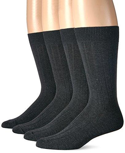 Dockers Men's Wide Rib Dress Crew Socks (4 & 8 Packs), Charcoal), Shoe Size: 6-12