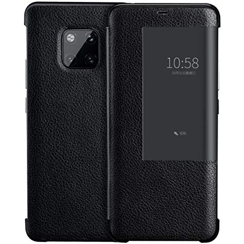 Genuine Leather Flip Case, CHEETOP [Compatible Wireless Charging] Litchi Pattern First Layer Cowhide Ultra-Slim Light Smart Wake Up/Sleep Cover with View Window for Huawei Mate 20 Pro (Black)