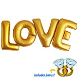 LOVE Gold Foil Letter Balloons - 40 inches for Huge Impact - With 2 x 32inch BONUS Engagement Rings - Perfect for Engagements, Bridal Showers & Weddings!