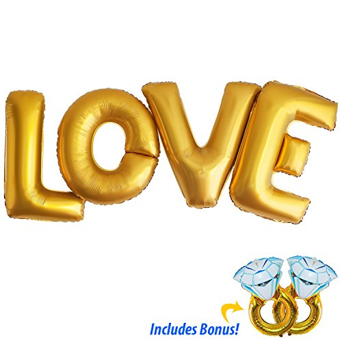 LOVE Gold Foil Letter Balloons - 40 inches for Huge Impact - With 2 x 32inch BONUS Engagement Rings - Perfect for Engagements, Bridal Showers & Weddings! ()