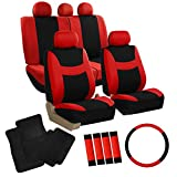 FH GROUP FH-FB030115 Light & Breezy Red/Black Cloth Seat Cover Set Airbag & Split Ready with Steering Wheel Cover, Seat Belt Pads and Floor Mats- Fit Most Car, Truck, Suv, or Van