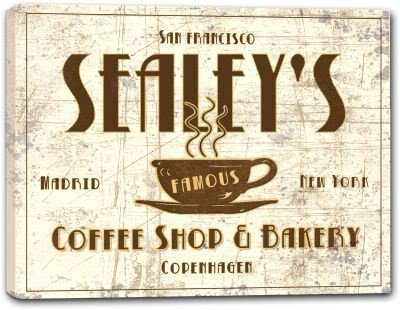 J Edgar Cool SEALEY'S Family Name - MANY DESIGNS AVAILABLE - Coffee Shop & Bakery Gallery Wrapped Canvas Sign 3 SIZES AVAILABLE - 11