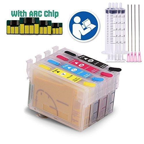 C88+ Printer - INKUTEN (TM) C88 C88 T0601/2/3/4 Sublimation Refillable Ink Cartridges Full Set For C88+ C68 C88 (Sublimation Ink, Heat Transfer Printing)