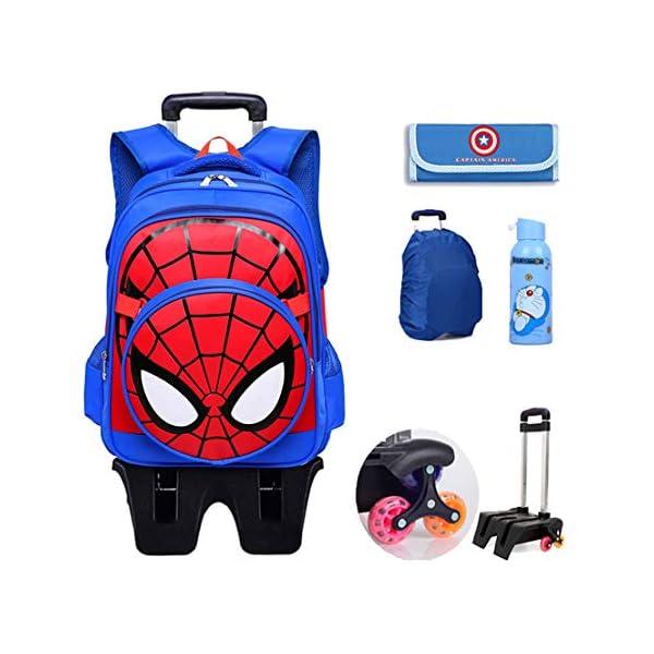 MODRYER per Bambini Zaino Spiderman Scuola elementare Impermeabile Zaino Trolley Studenti Piede Alto 6 Ruote Daypack Mud… 1 spesavip