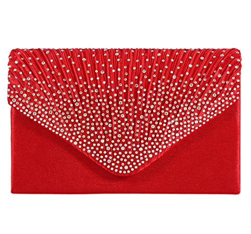U-Story Women's Rhinestone Satin Frosted Evening Wedding Clutch Bag Handbag Purse (Red)