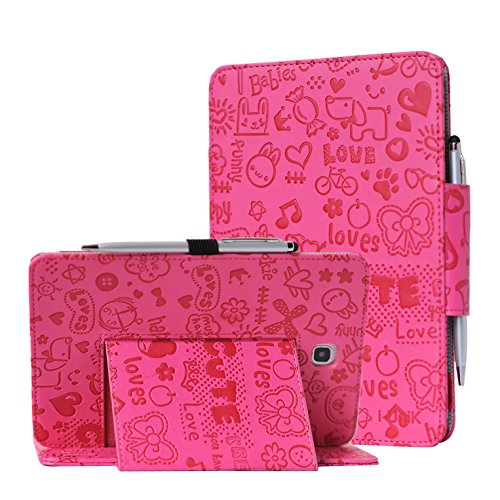 TAB A 8.0 case, Samsung Galaxy TAB A 8.0 inch SM-T350 case by i-UniK Slim Folio Case w/Auto Sleep Awake [Bonus Stylus] (Cute Pink) 0 Folio Case