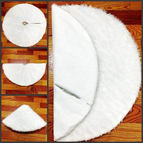 Christmas Tree Skirt 48 inch, White Large Faux Fur Christmas Tree Skirt, Plush Christmas Tree Mat For Xmas Holiday Party Home Decorations