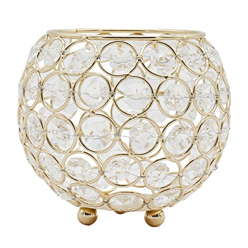 Joynest Crystal Tea Light Candle Lantern Holders, Wedding Coffee Table Decorative Centerpieces for Home Décor Party Mothers Day Birthday House Gifts (4.8'', (Gold Trimmed Vase)