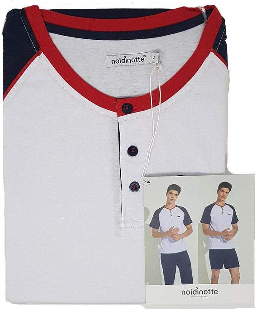 Noid/ìNotte Pigiama 3 Pezzi Uomo Manica Corta Pantalone Lungo FC2121AS Pantaloncino in Cotone Art