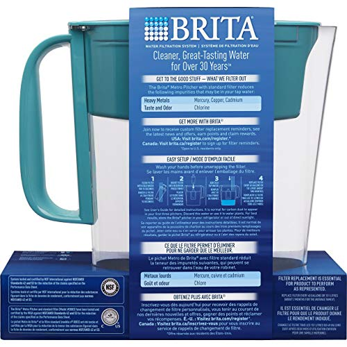 Brita Small 5 Cup Metro Water Pitcher with Filter - BPA Free - Turquoise by Brita (Image #7)
