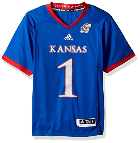 (adidas NCAA Kansas Jayhawks Adult Men Premier Football Jersey, Large, Collegiate Royal)