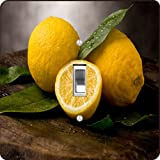 Rikki Knight RK-LSPS-2886 Still Life Art Yellow Lemon Will Green Leaf Design Light Switch Plate Cover
