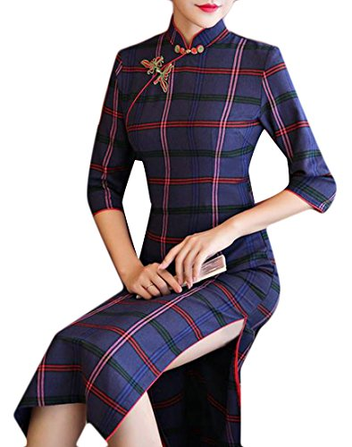 Sheath Cheongsam Striped Womens 5 Fit Slim Classic Cromoncent Comfy Dress wB4qSCW