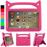 All-New Fire HD 8 Kids Case, Fire 8 2018 Case for Kids - Riaour Light Weight Shock Proof Handle Friendly Stand Kid-Proof Case for Fire 8 inch Display Tablet Cover(2016&2017&2018 Release)(Pink)