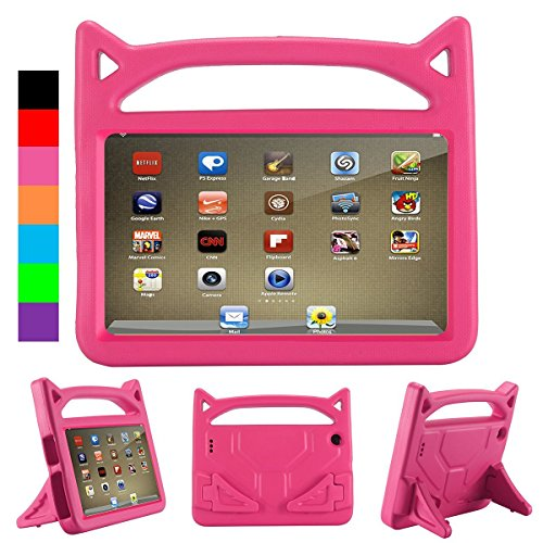 : All-New Fire HD 8 Kids Case, Fire 8 2018 Case for Kids - Riaour Light Weight Shock Proof Handle Friendly Stand Kid-Proof Case for Fire 8 inch Display Tablet Cover(2016&2017&2018 Release)(Pink)