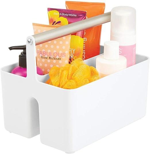 mDesign Caja organizadora para cuarto de baño – Cesta con asa para ...