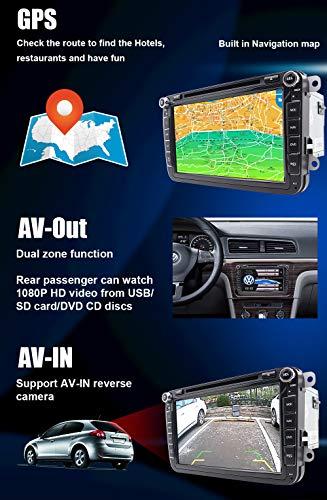 FoIIoE 8 Pulgadas 2 DIN Pantalla táctil Coche estéreo DVD Reproductor Sat Navin Dash GPS navegación Bluetooth Autoradio For VW Volkswagen Cars Golf Passat ...