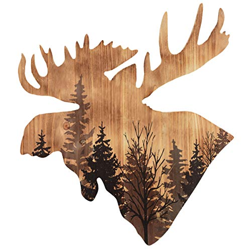 BLACK FOREST DECOR Majestic Moose Head Wood Wall Art (Head Wicker Moose)