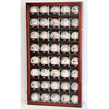 Image of 40 Baseball Arcylic Cubes Display Case Cabinet Holders Rack w/ UV Protection, Cherry