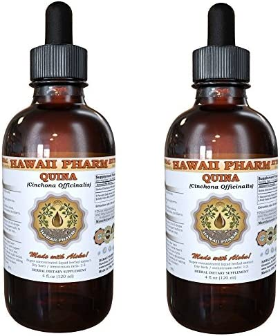 Quina Liquid Extract, Quina Cinchona officinalis Tincture, Herbal Supplement, Hawaii Pharm, Made in USA, 2×4 fl.oz