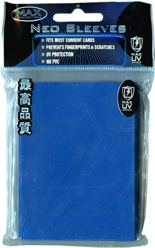 Max Protection Flat Standard Gaming Card Sleeves, Flat Reflex Blue, 50 Count