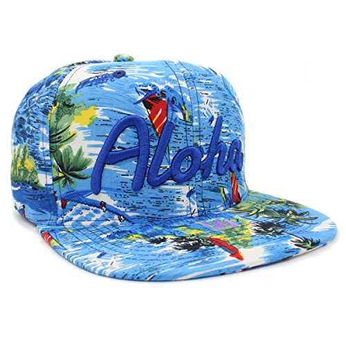 Embroidered ALOHA, HAWAII Tropical Hawaiian Print Snapback Cap