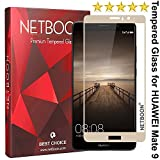 NETBOON® Premium Tempered Glass Screen Guard for Huawei Mate 9 with 9H Hardness 2.5D Curved Gorilla Glass Screen Protector for Huawei Mate 9 - Gold
