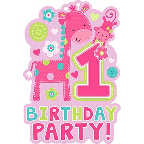 amscan One Wild Girl 1st Birthday Die-Cut Postcard Invitations, 6