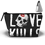 HGUII-O I LOVE SKULLS Makeup Bag Cosmetic Pouch Travel Bag With Zipper Closure For Women Girls