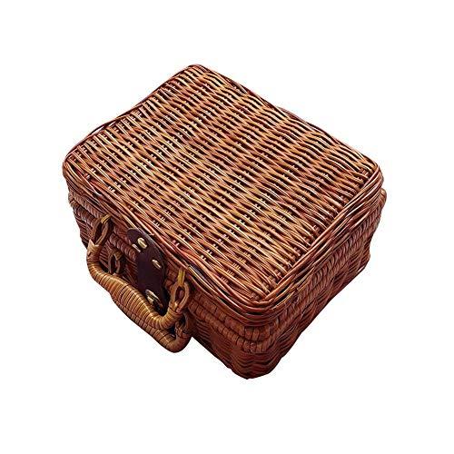 TSY Retro Wicker Suitcase,Brown Wicker Picnic Basket Rattan Storage Box Travel Suitcase