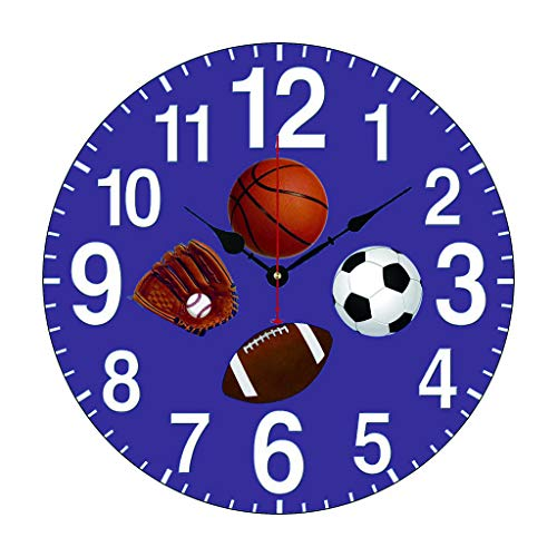 (Moonluna Sports Themed Wall Clock Decor for Bedroom Nursery Round Silent Wood Wall Clock Art for Kids Room 12 Inches)