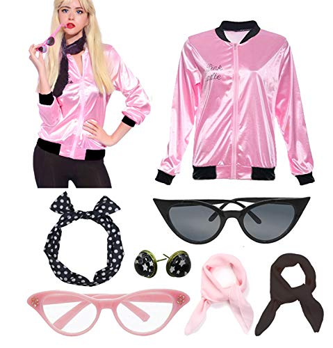 Retro 1950s Rhinestore Pink Ladies Costume Outfit Accessories Set ()
