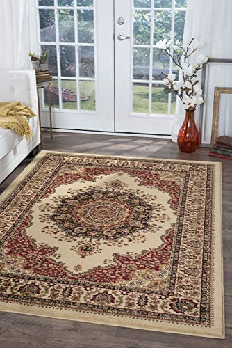 Fiona Traditional Oriental Ivory Rectangle Area Rug, 9 x 12