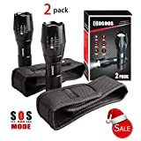 2 Bright Tactical Flashlights with 2 Flashlight Holsters, Pouch Belt Holders,Carry Case,COSOOS Zoomable 1000-Lumen LED Lamps,Portable Torch Lamp,Waterproof Flash Light for Camping,No AAA Battery