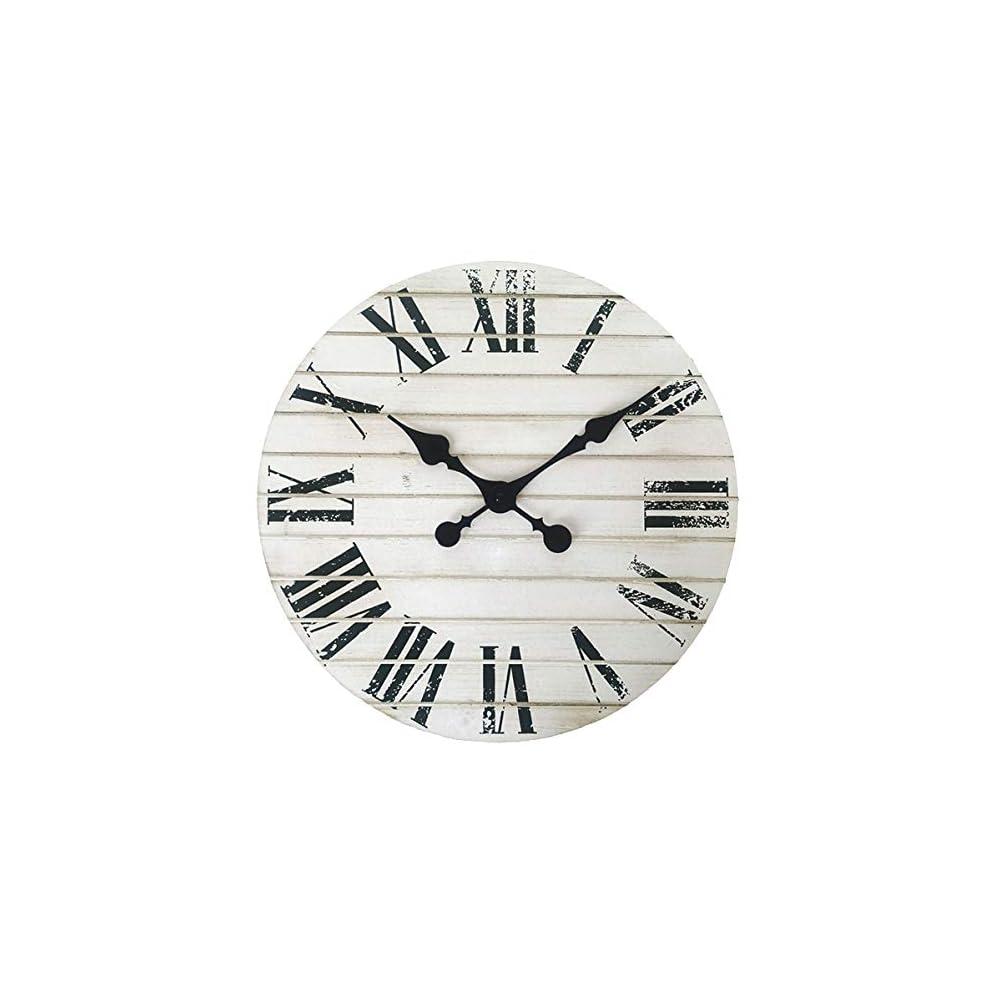 GoodTime 14 Inch Decorative Wall Clock – Farmhouse Home Decor -Rustic Shiplap Roman Numerals Silent Clock - Distressed…