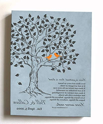 Gatton - Personalized Anniversary Family Tree Artwork - Love is Patient Love is Kind Bible Verse - - Color Blue # 2 - Size - 12x16 | Model WDDNG - 1574 | 12 x 16 Inches ()