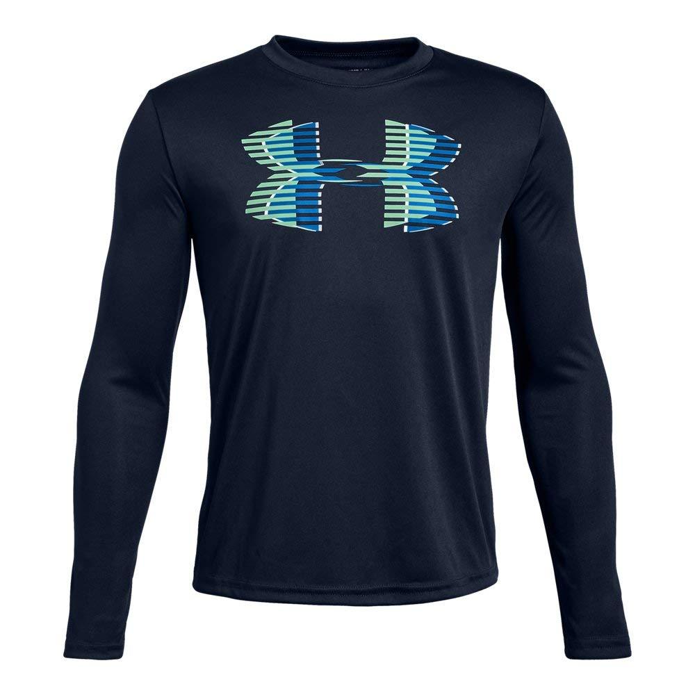 Under Armour Boys' Tech Big Logo Long sleeve Shirts, Academy (408)/Blue Circuit, Youth X-Small