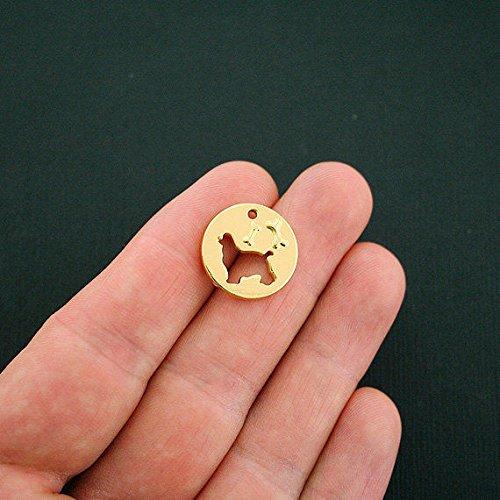 4 Dog Bone Charms Gold Tone Dog Cutout 2 Sided - GC864