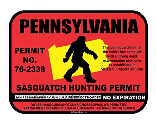 Pennsylvania Sasquatch Hunting Permit License Bigfoot Vinyl Sticker Decal