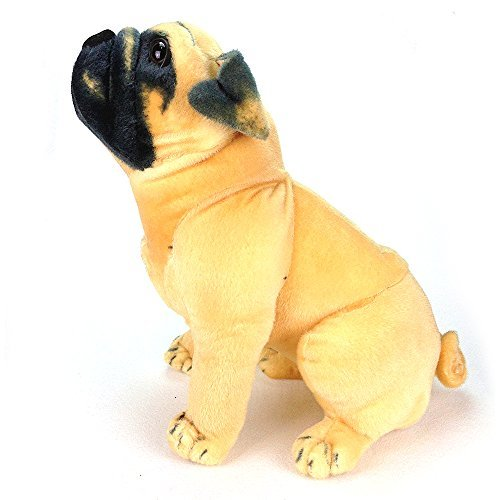 KateDy Stuffed Animal Pug Dog Lifelike Puppy Best Real Friends For Kids Adults,Alive Real Pets Dog Plush Toy For Home Office Nursery Bed Sofa Desk Door Decoration(11.8