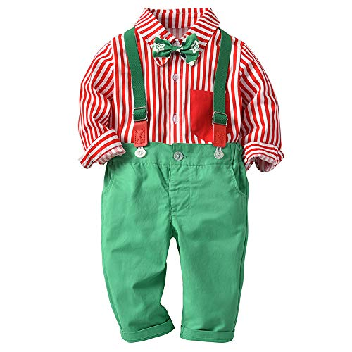 Novel Baby Clothes,Toddler Infant Newborn Boys, Christmas Striped Shirt Bowknot Top+Suspenders Strap Pants (12-18 M, Red) from Kshion