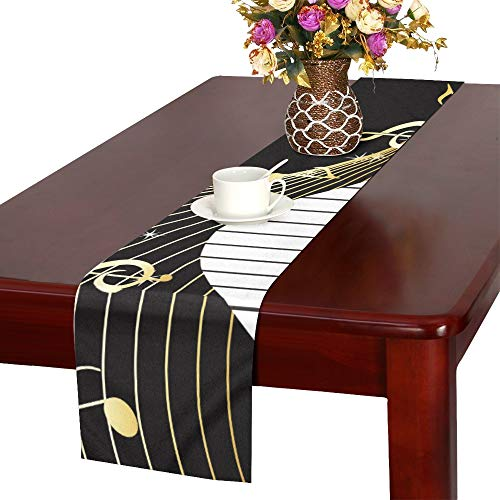 JTMOVING Romantic Art Piano Keys with Musical Notes Table Runner, Kitchen Dining Table Runner 16 X 72 Inch for Dinner Parties, Events, Decor ()