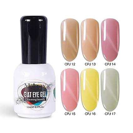 Mobray Jade - Juego de esmaltes de uñas de gel UV para gatos, 6 colores, 12 ml, caja de regalo ...