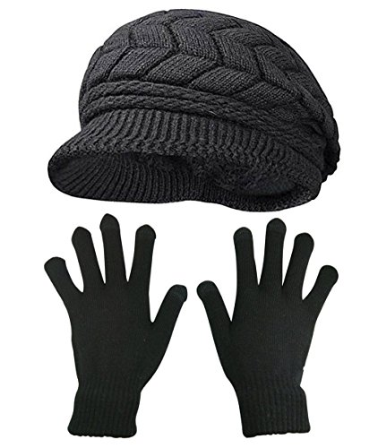 HINDAWI Winter Hat Gloves For Women Knit Snow Ski Outdoor CapsTouch Screen Mittens (Black)