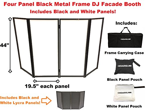 Cedarslink Dj Event Facade White/black Scrim Metal Frame Booth + Travel Bag Case